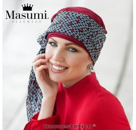 DAISY RED BLACK & WHITE DIAMOND- Pañuelo Bambú - MASUMI HEADWEAR