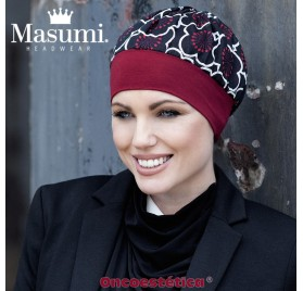 CLARA BLACK RED FLOWER - Gorro Algodón - MASUMI HEADWEAR