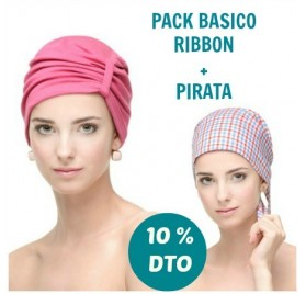 PACK Turbante Ribbon + Pirata Cuadritos