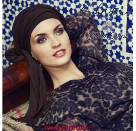 SAPPHIRE MARRON - Turbante + Cinta Larga - CHRISTINE HEADWEAR