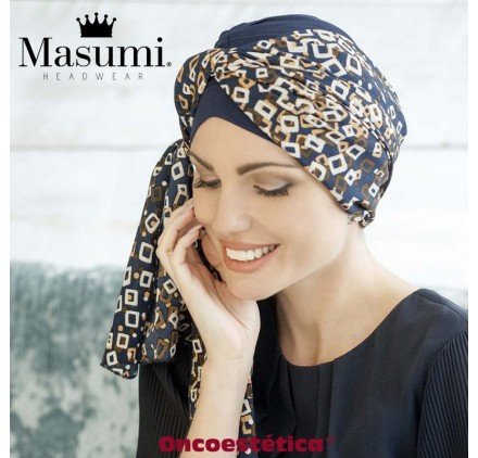 DAISY NAVY GOLDEN DIAMOND- Pañuelo Bambú - MASUMI HEADWEAR
