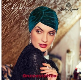 PEARL - BOHO TURBAN- VELVET - DARK GREEN